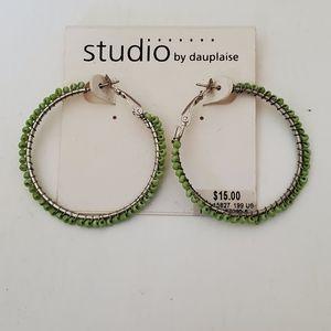 Lime Green Bead Hoop Earrings
